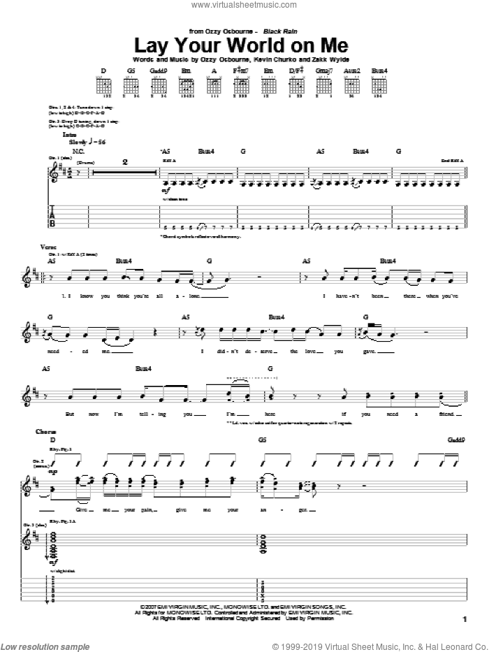 Lay Your World On Me sheet music for guitar (tablature) by Ozzy Osbourne, Kevin Churko and Zakk Wylde, intermediate skill level