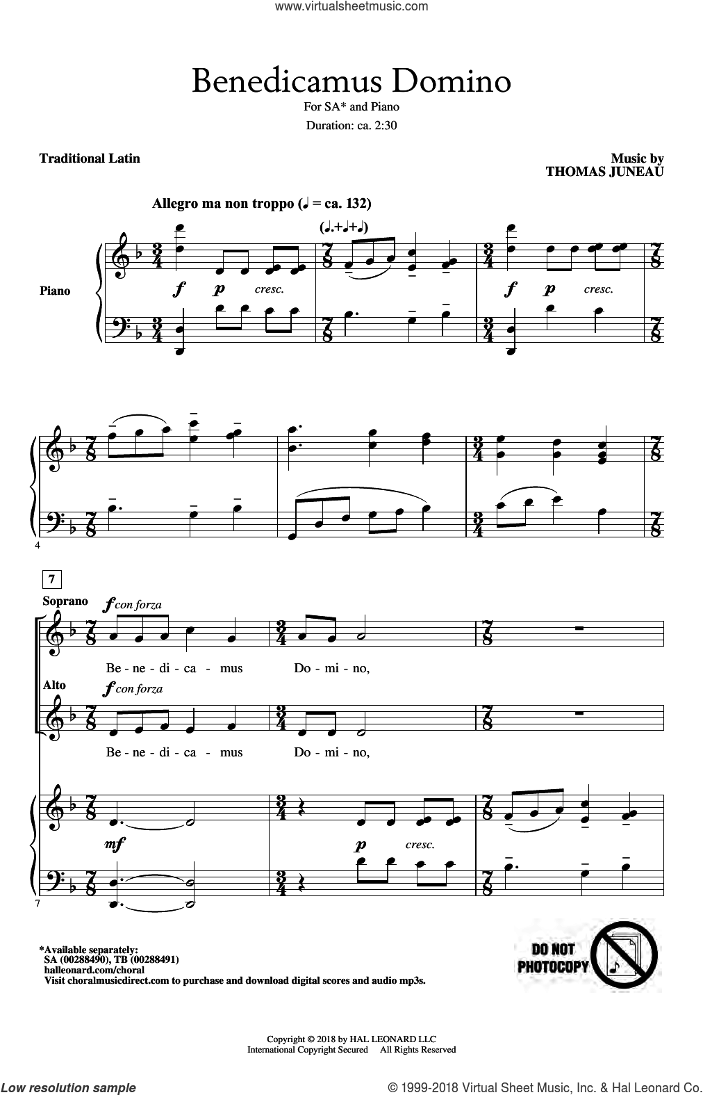Benedicamus Domino sheet music for choir (2-Part) by Thomas Juneau and Miscellaneous, intermediate duet
