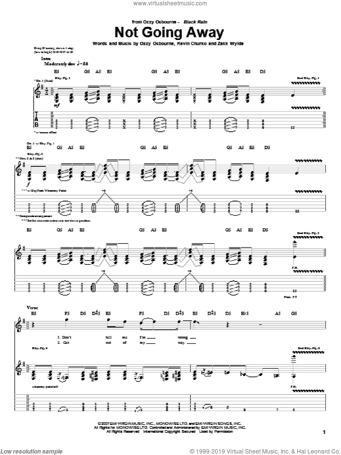 Not Going Away sheet music for guitar (tablature) by Zakk Wylde, Kevin Churko and Ozzy Osbourne. Score Image Preview.