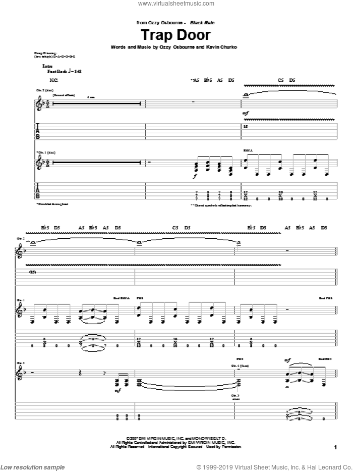 Trap Door sheet music for guitar (tablature) by Ozzy Osbourne and Kevin Churko, intermediate skill level