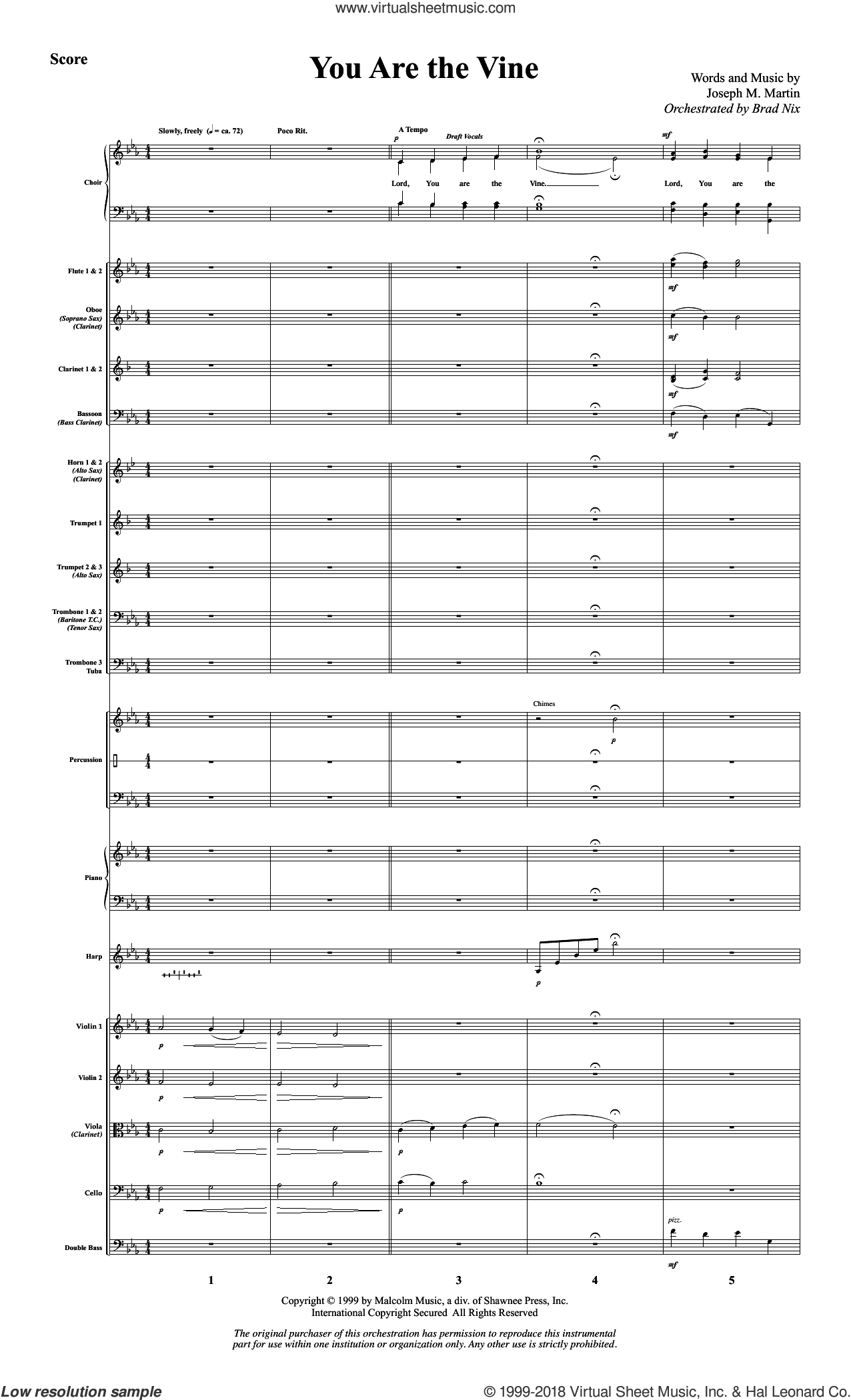 You Are the Vine (COMPLETE) sheet music for orchestra/band by Joseph M. Martin and John 15, intermediate skill level