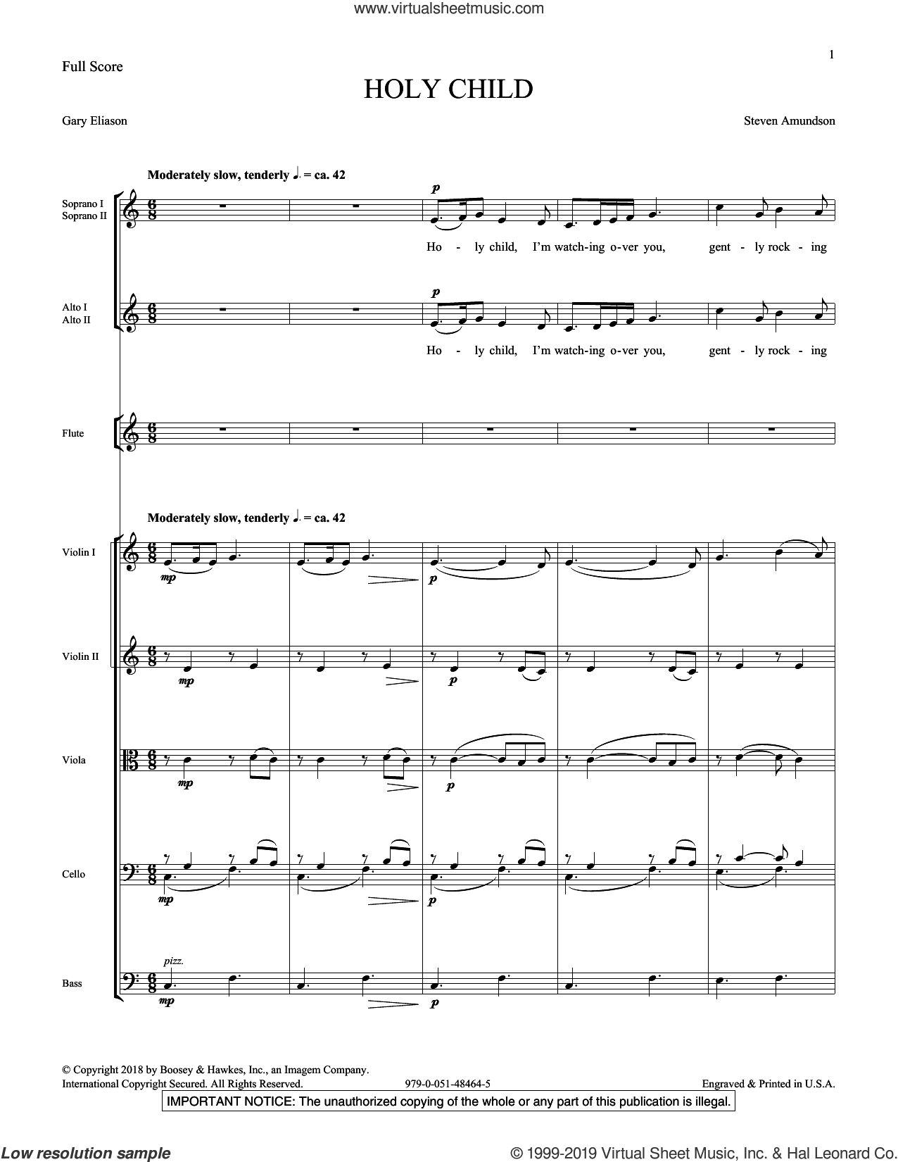 Holy Child (COMPLETE) sheet music for orchestra/band (Instrumental Accompaniment) by Steven Amundson and Gary Eliason, intermediate skill level