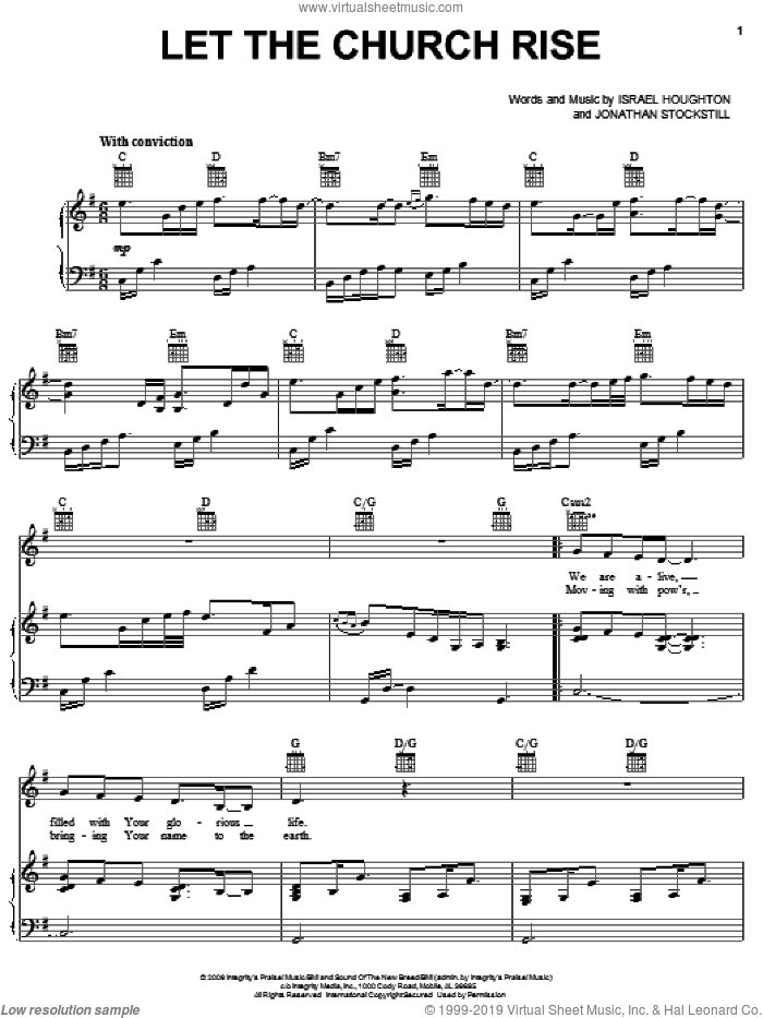 Let The Church Rise sheet music for voice, piano or guitar by Jonathan Stockstill and Israel Houghton. Score Image Preview.