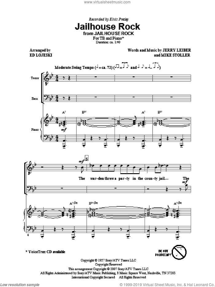 Jailhouse Rock sheet music for choir (TB: tenor, bass) by Mike Stoller, Jerry Leiber, Ed Lojeski and Elvis Presley, intermediate. Score Image Preview.