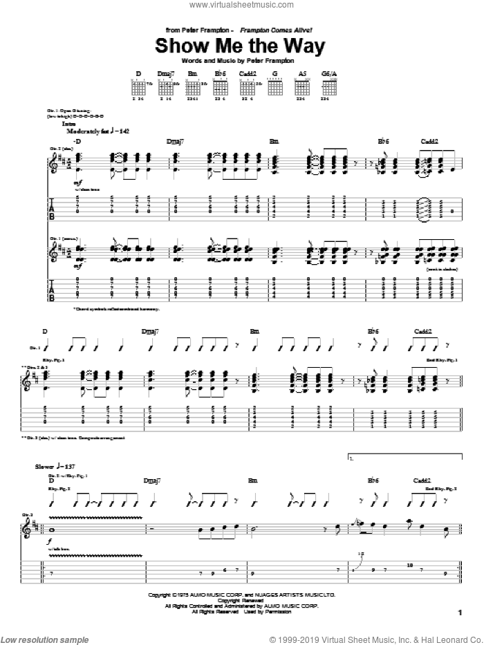 Show Me The Way sheet music for guitar (tablature) by Peter Frampton. Score Image Preview.
