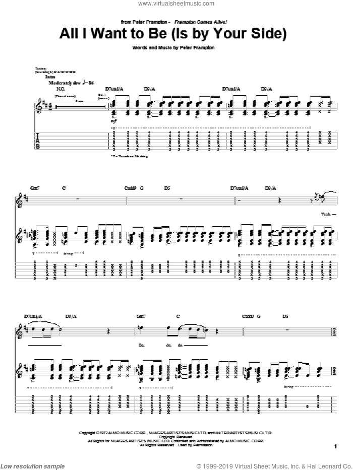 All I Want To Be (Is By Your Side) sheet music for guitar (tablature) by Peter Frampton, intermediate skill level