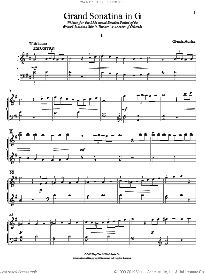 Grand Sonatina In G sheet music for piano solo (elementary) by Glenda Austin, classical score, beginner piano (elementary)
