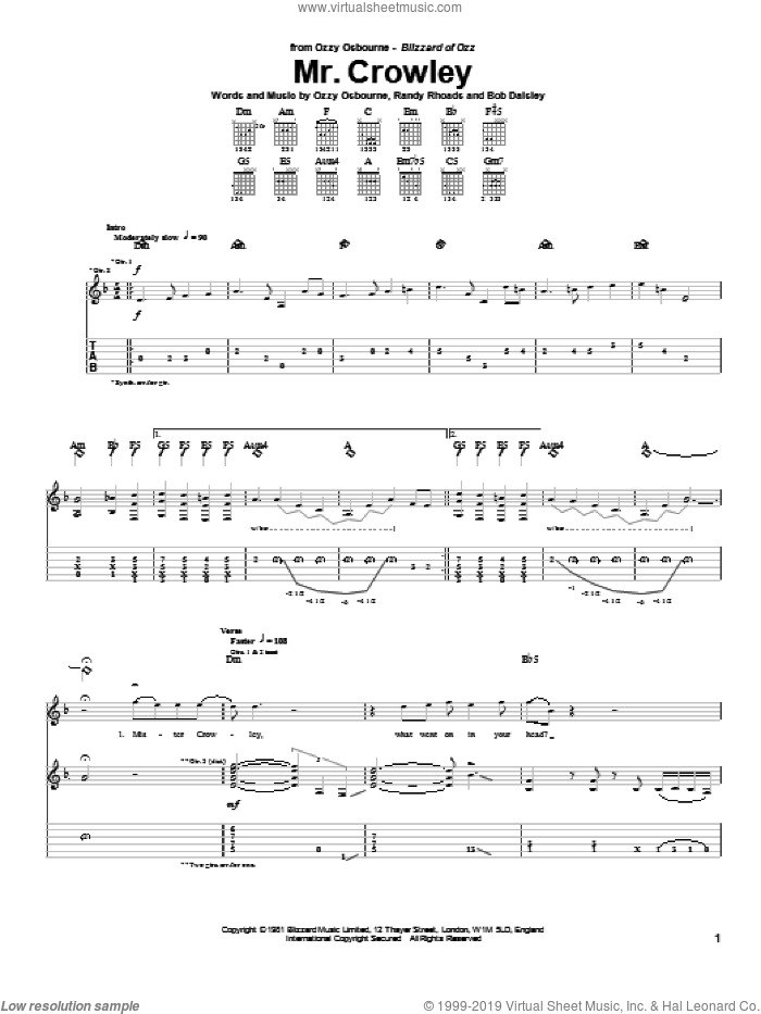 Mr. Crowley sheet music for guitar (tablature) by Randy Rhoads, Bob Daisley and Ozzy Osbourne. Score Image Preview.