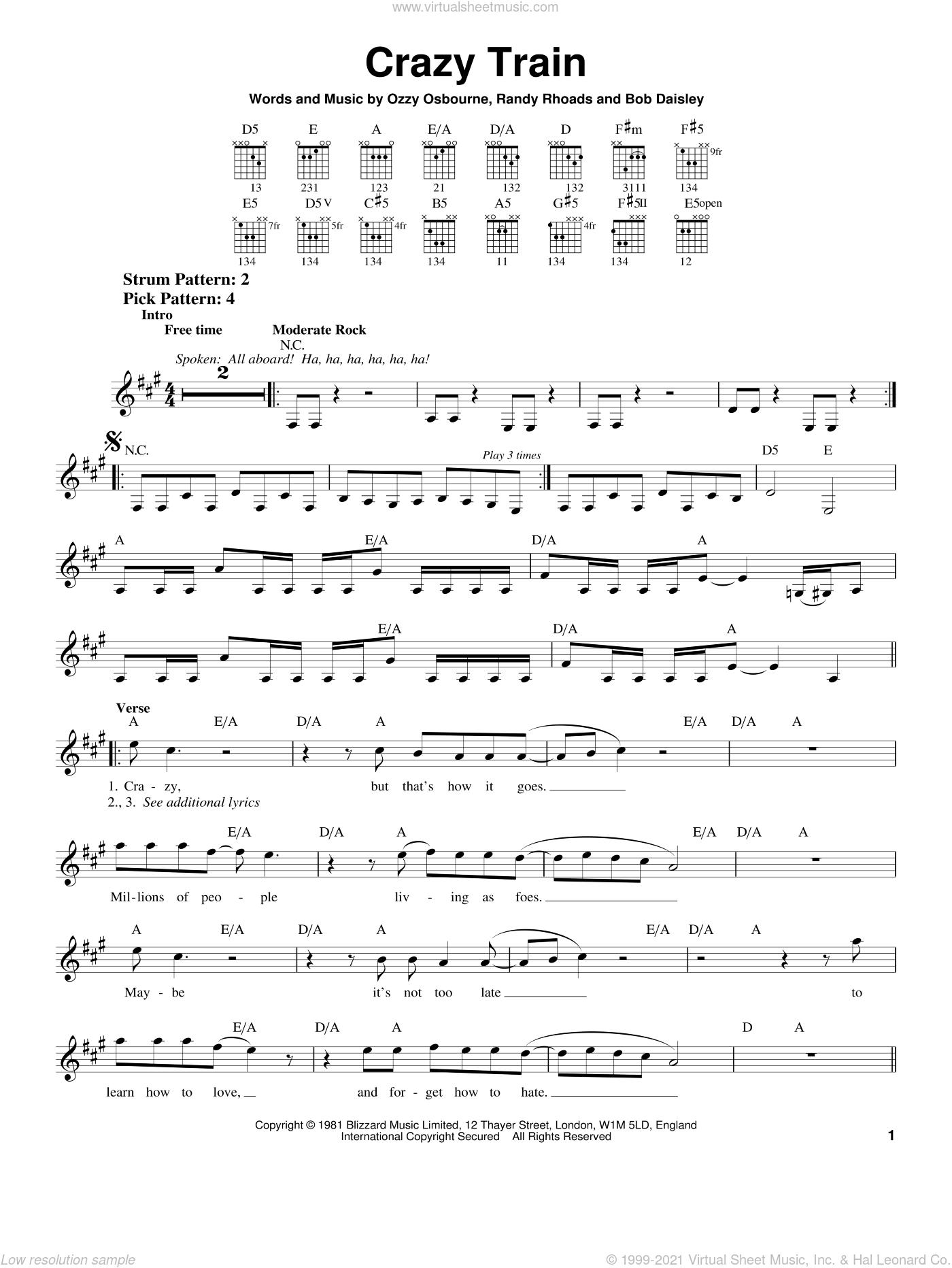 Crazy Train sheet music for guitar solo (chords) by Ozzy Osbourne and Randy Rhoads. Score Image Preview.