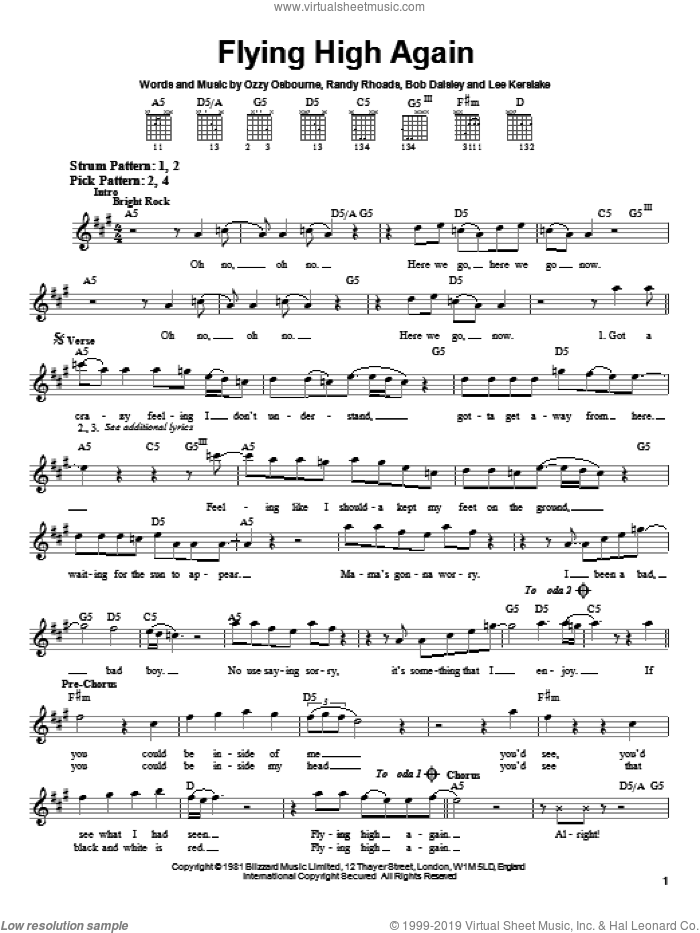 Flying High Again sheet music for guitar solo (chords) by Ozzy Osbourne, Bob Daisley, Lee Kerslake and Randy Rhoads, easy guitar (chords)