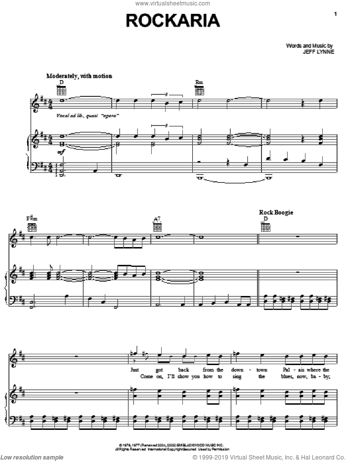 Rockaria sheet music for voice, piano or guitar by Electric Light Orchestra and Jeff Lynne, intermediate skill level