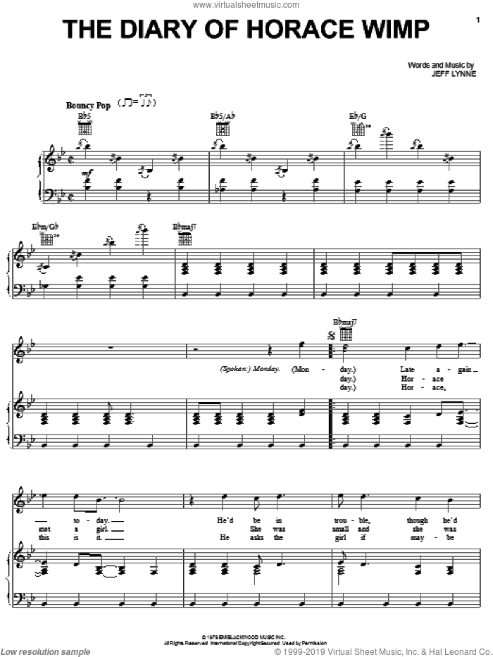 Diary Of Horace Wimp sheet music for voice, piano or guitar by Electric Light Orchestra and Jeff Lynne, intermediate skill level