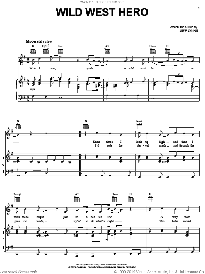 Wild West Hero sheet music for voice, piano or guitar by Electric Light Orchestra and Jeff Lynne, intermediate. Score Image Preview.