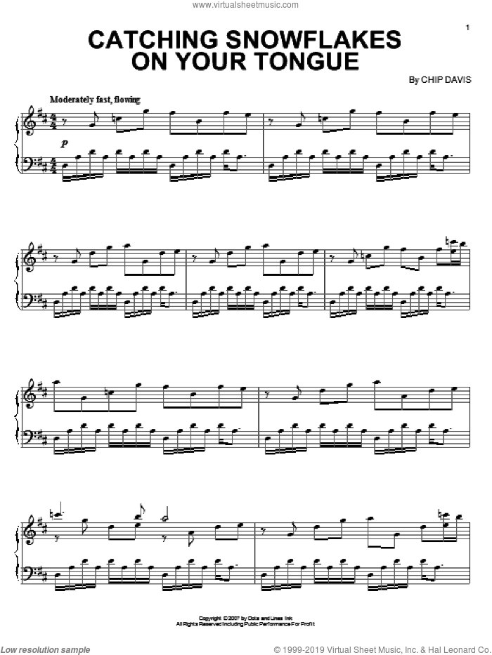 Catching Snowflakes On Your Tongue sheet music for piano solo by Mannheim Steamroller and Chip Davis, intermediate skill level