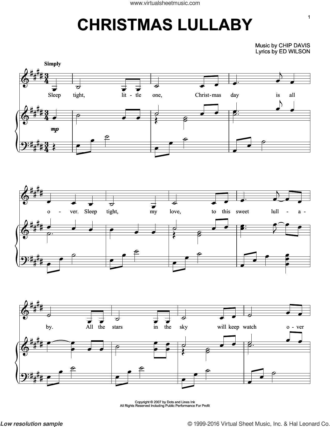Christmas Lullaby sheet music for piano solo by Ed Wilson