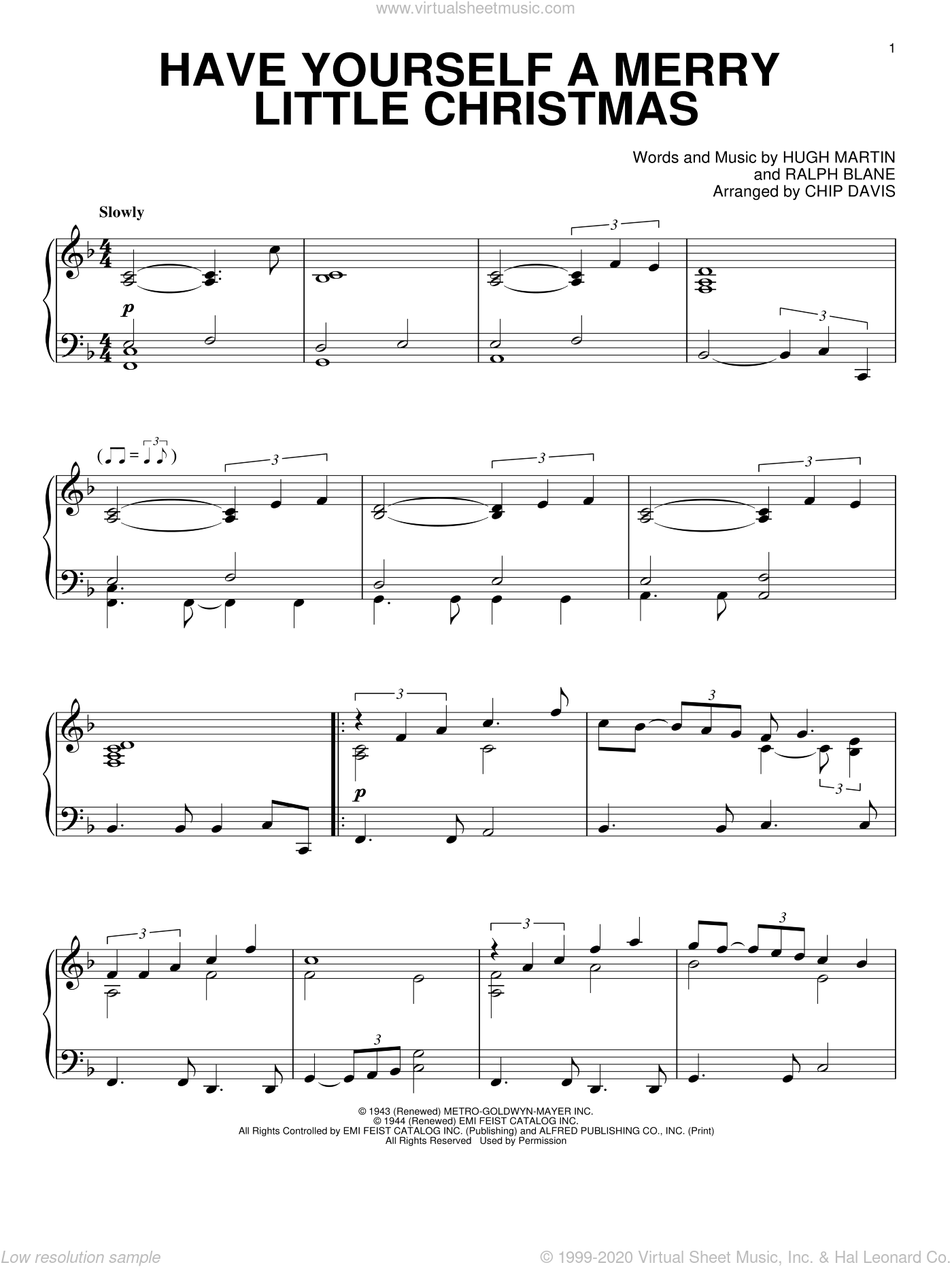 Steamroller - Have Yourself A Merry Little Christmas sheet music for piano solo