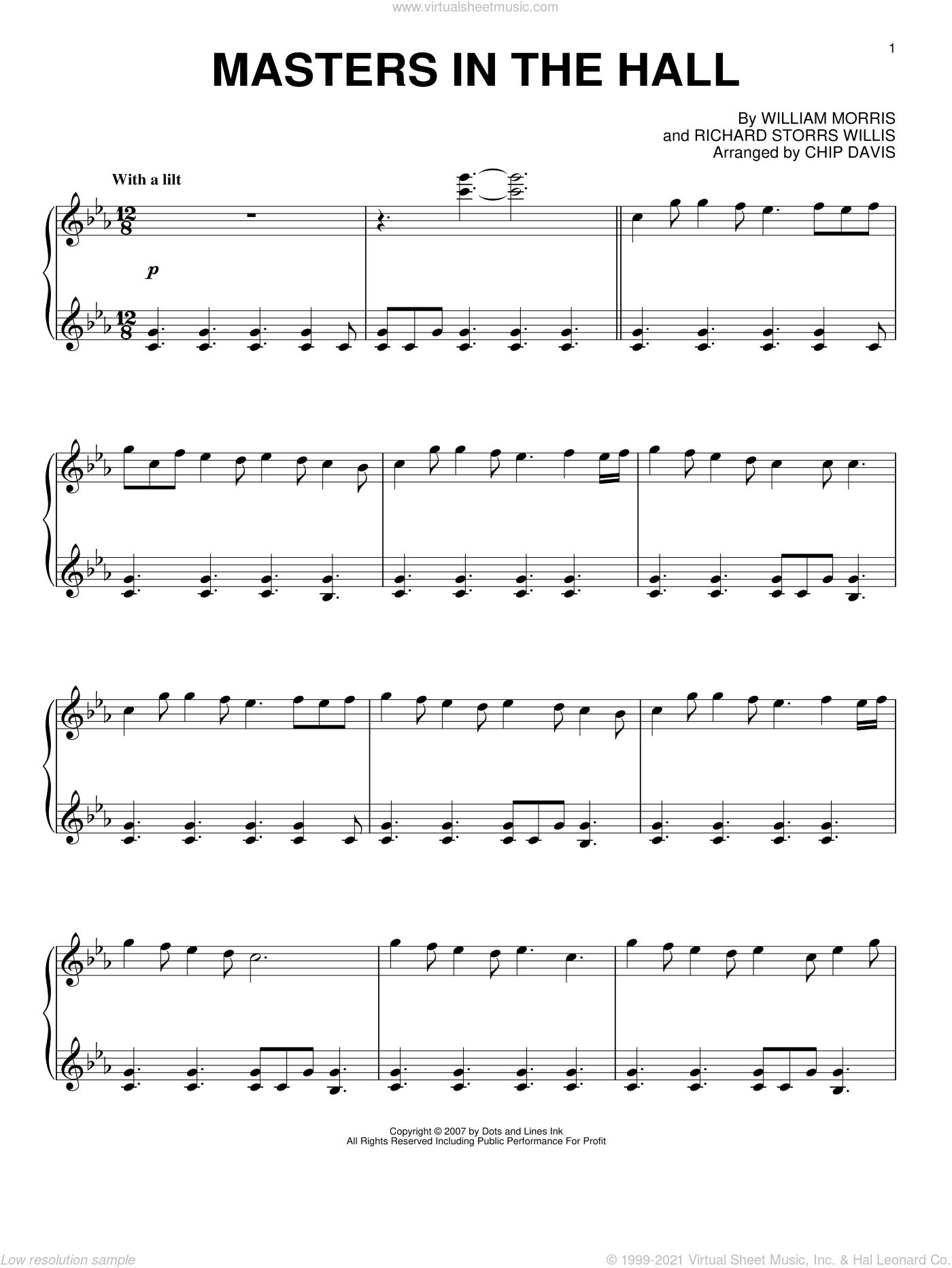 Masters In This Hall sheet music for piano solo by Mannheim Steamroller and Miscellaneous, intermediate skill level