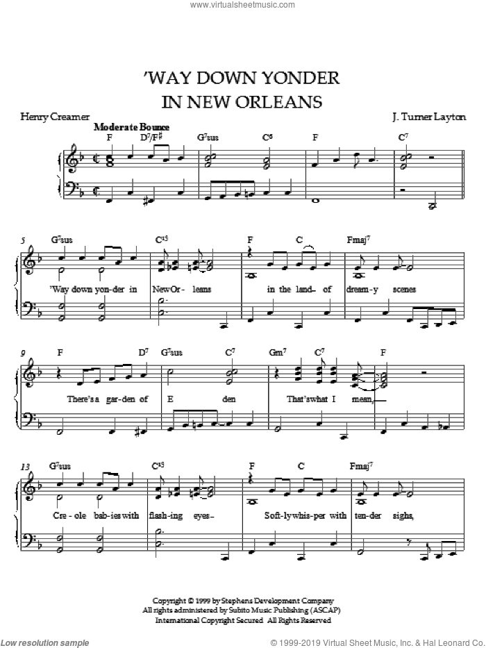Way Down Yonder In New Orleans sheet music for piano solo by Layton