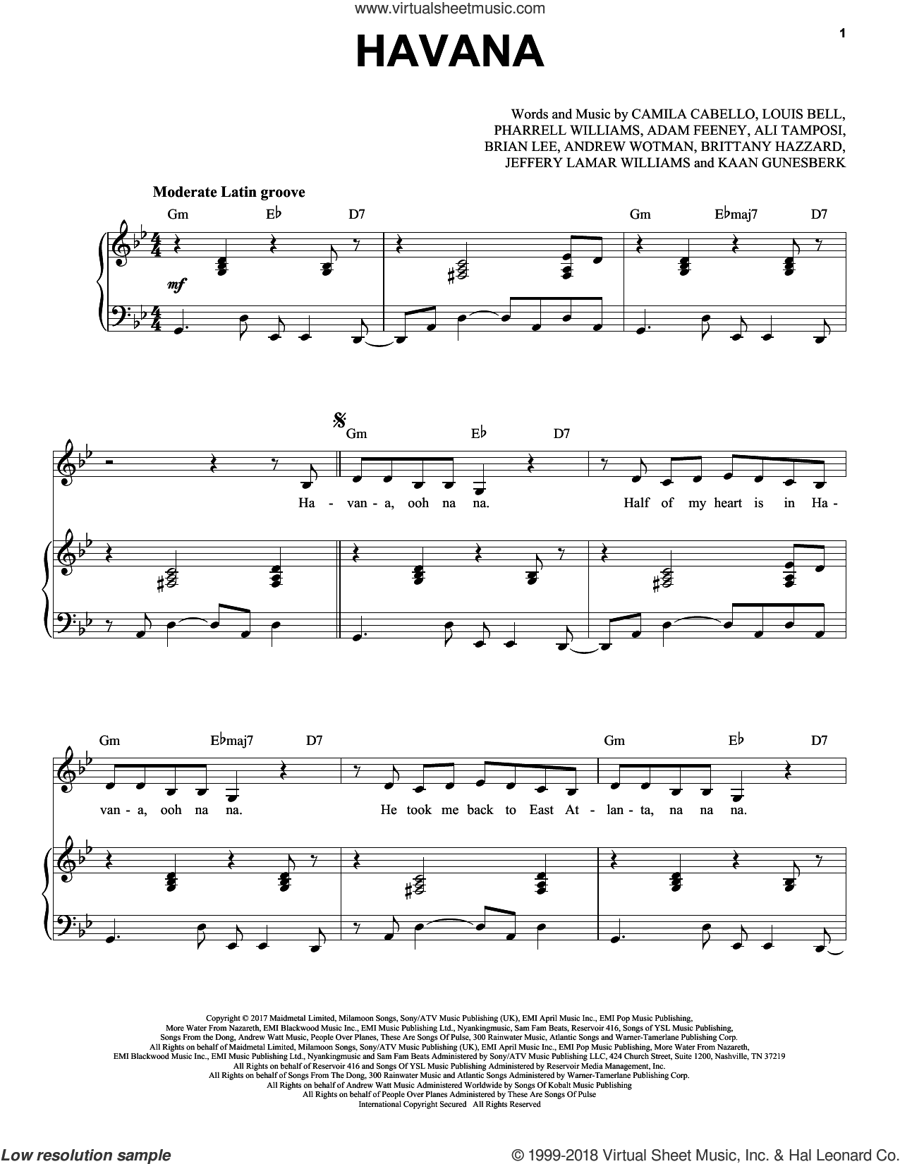 Havana (feat. Young Thug) sheet music for voice and piano by Camila Cabello, Adam Feeney, Ali Tamposi, Andrew Wotman, Brian Lee, Brittany Hazzard, Jeffery Lamar Williams, Kaan Gunesberk, Louis Bell and Pharrell Williams, intermediate skill level