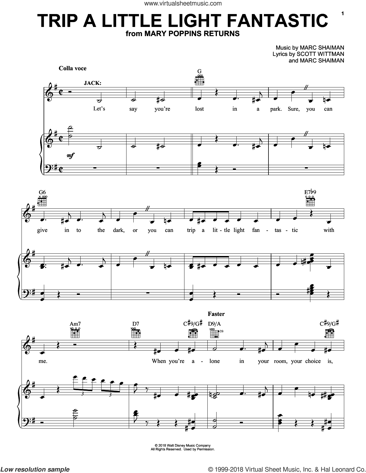 Trip A Little Light Fantastic (from Mary Poppins Returns) sheet music for voice, piano or guitar by Lin-Manuel Miranda, Marc Shaiman and Scott Wittman, intermediate skill level