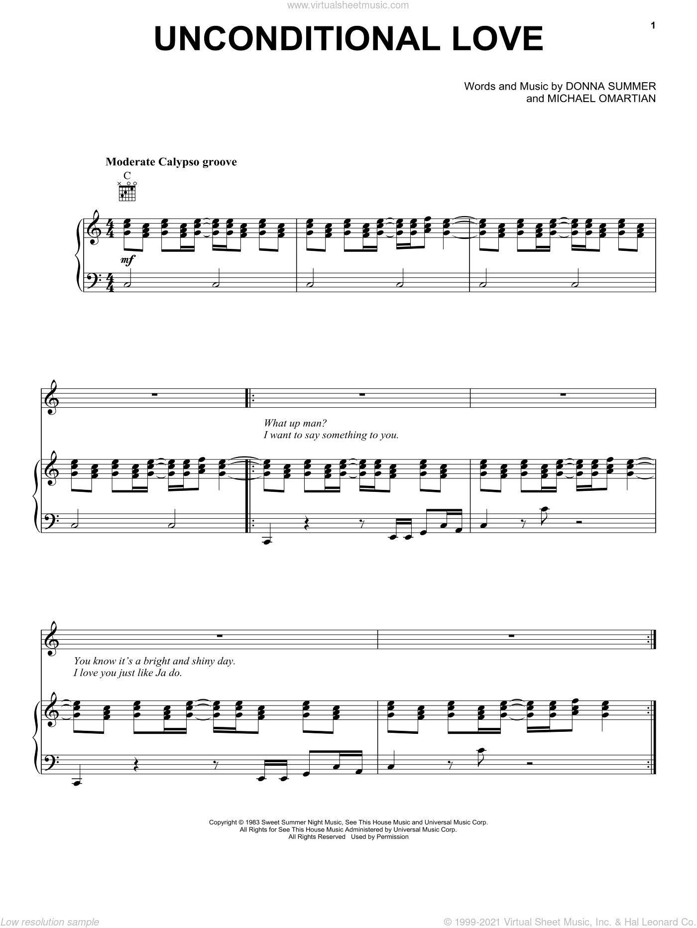 Unconditional Love sheet music for voice, piano or guitar by Donna Summer and Michael Omartian, intermediate skill level
