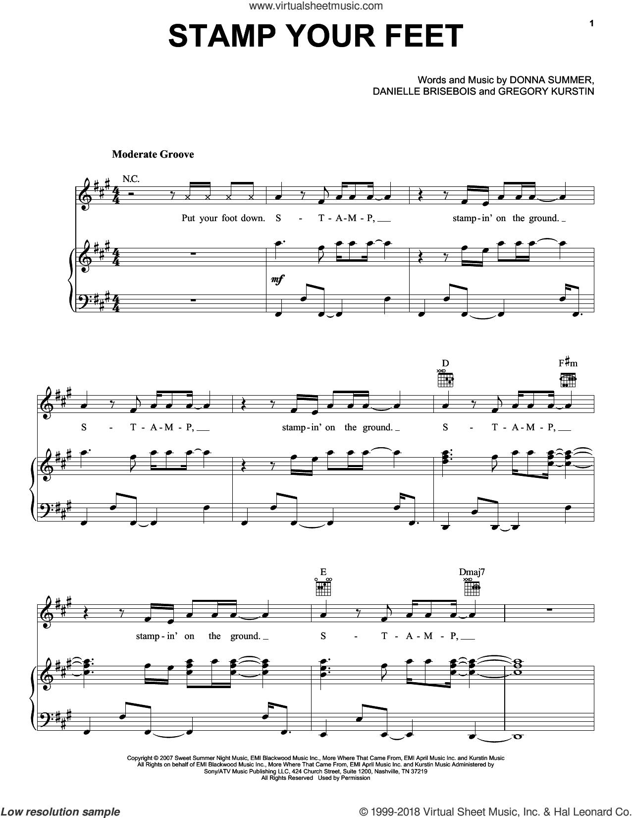 Stamp Your Feet sheet music for voice, piano or guitar by Donna Summer, Danielle Brisebois, Donna A. Summer and Gregory Kurstin, intermediate skill level