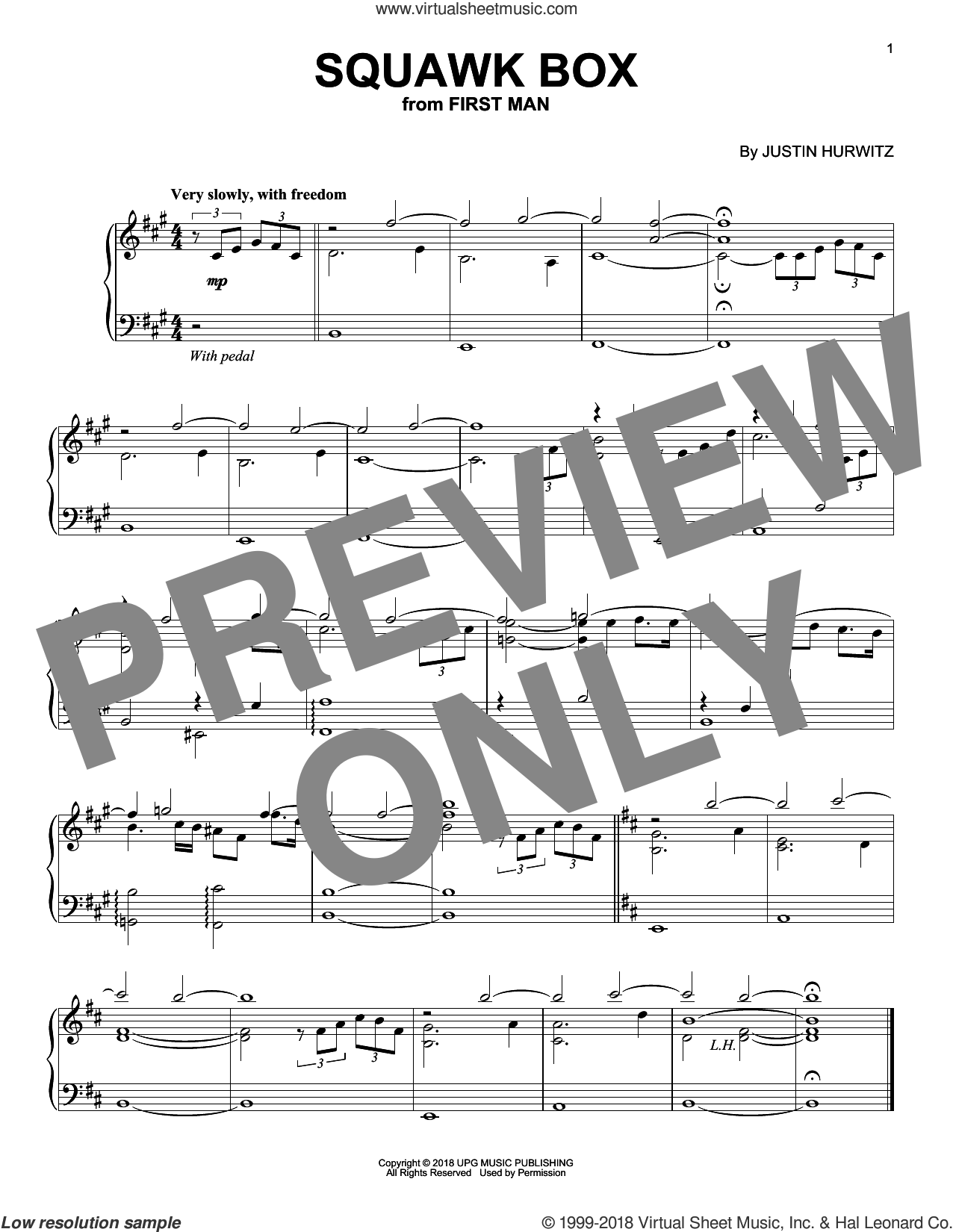 Squawk Box (from First Man) sheet music for piano solo by Justin Hurwitz, intermediate skill level