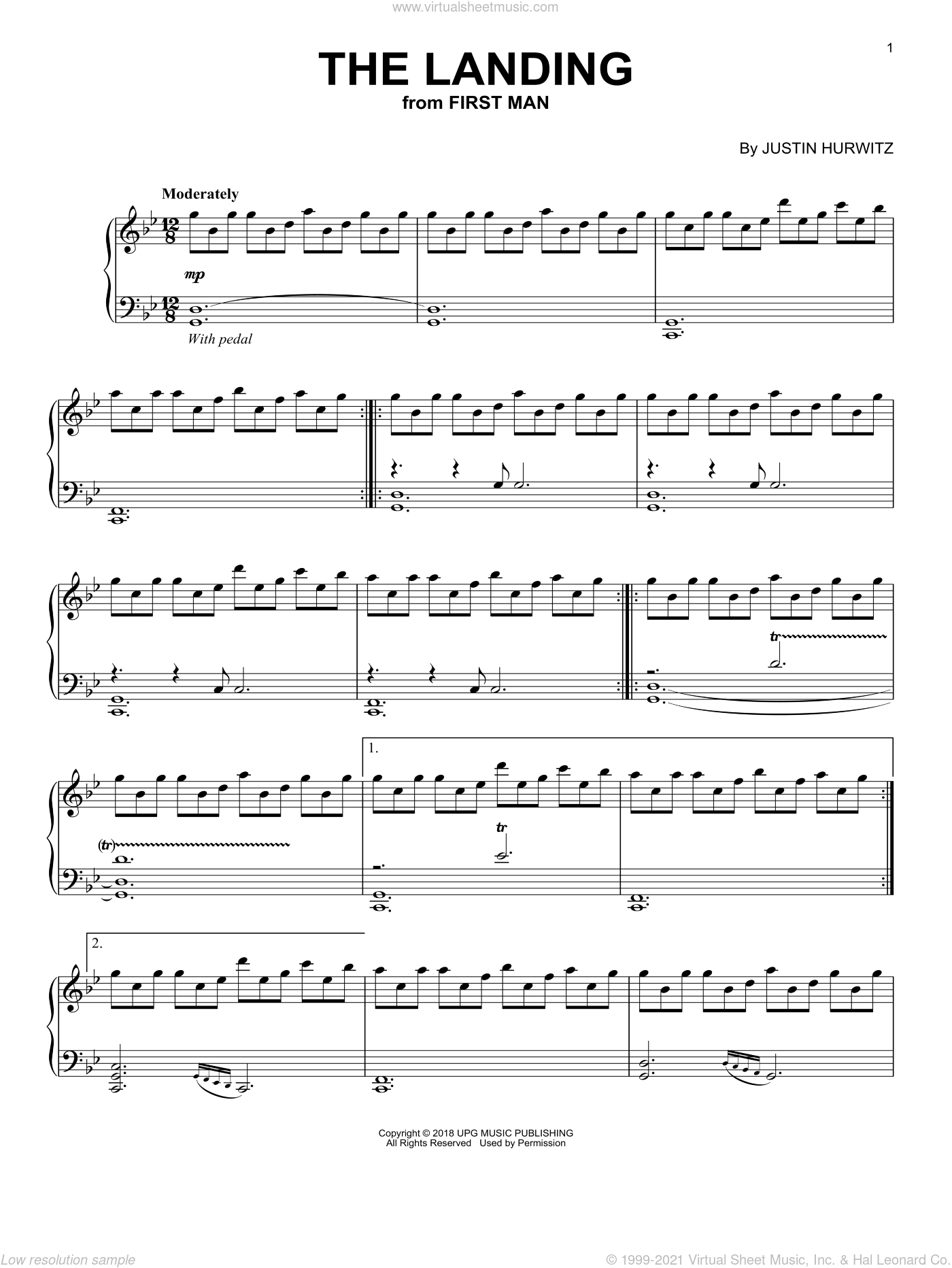 The Landing (from First Man) sheet music for piano solo by Justin Hurwitz, intermediate skill level