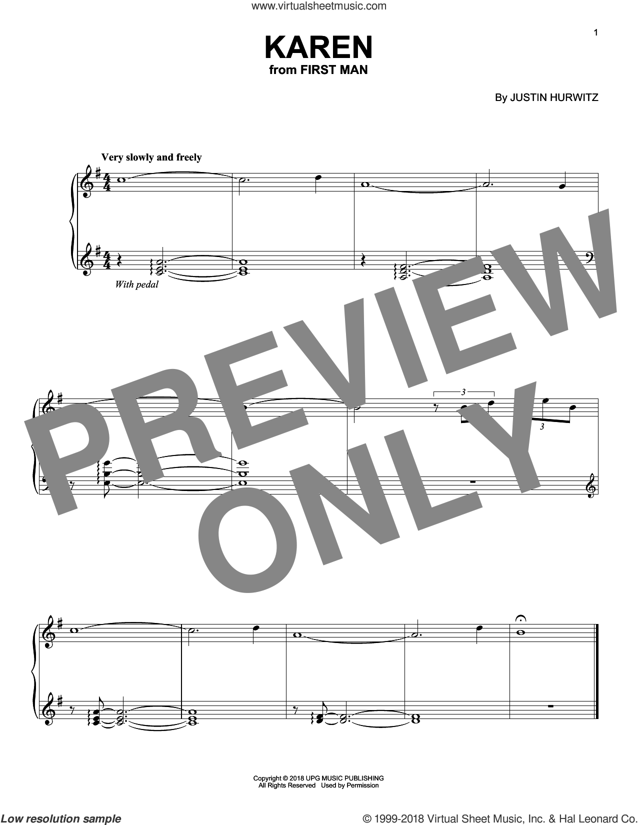 Karen (from First Man) sheet music for piano solo by Justin Hurwitz, intermediate skill level