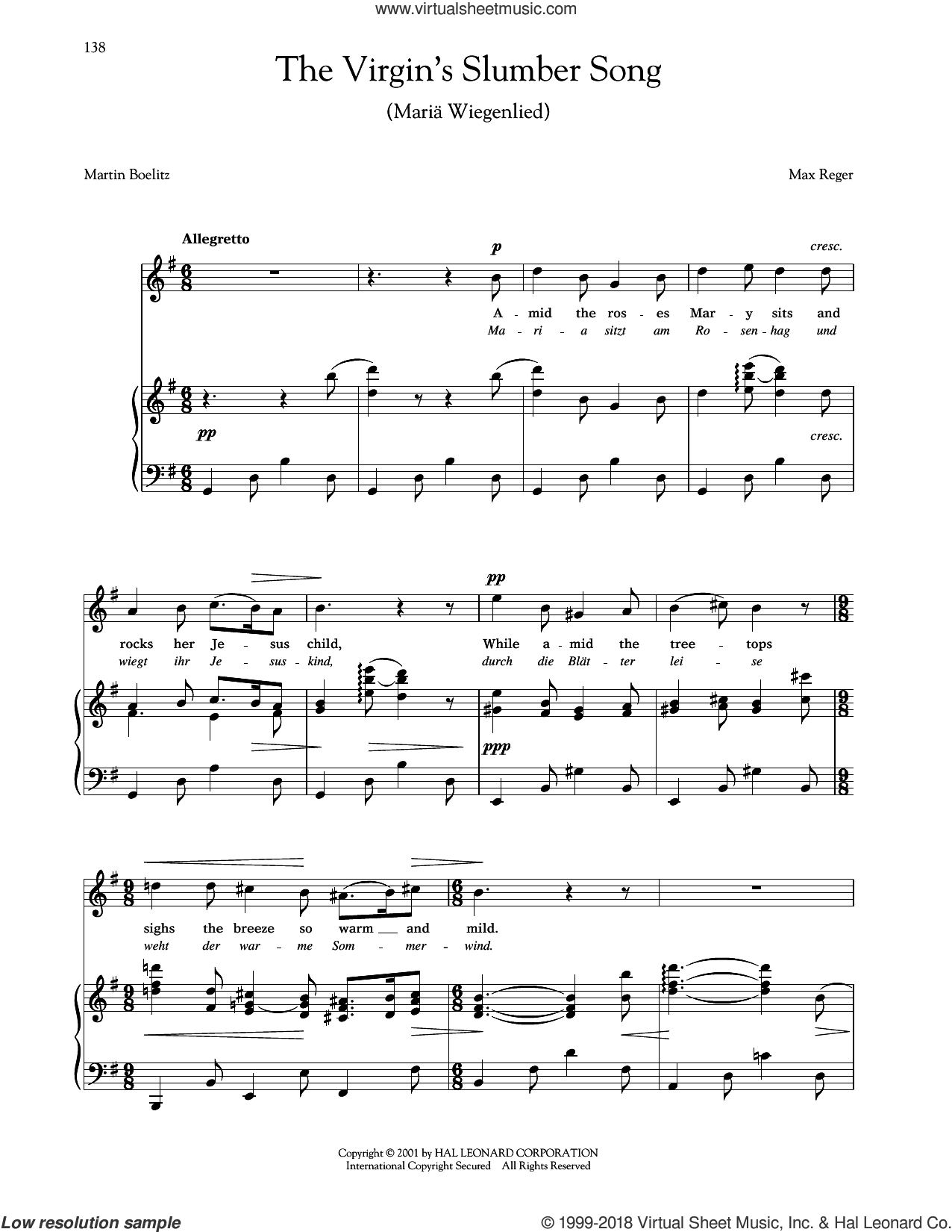 Maria Wiegenlied (The Virgin's Slumber Song) (Reger) sheet music for voice and piano (High Voice) by Max Reger and Joan Frey Boytim, intermediate skill level