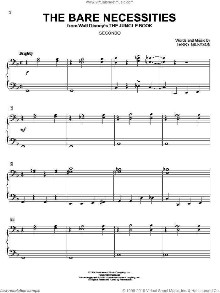 The Bare Necessities sheet music for piano four hands (duets) by Terry Gilkyson. Score Image Preview.