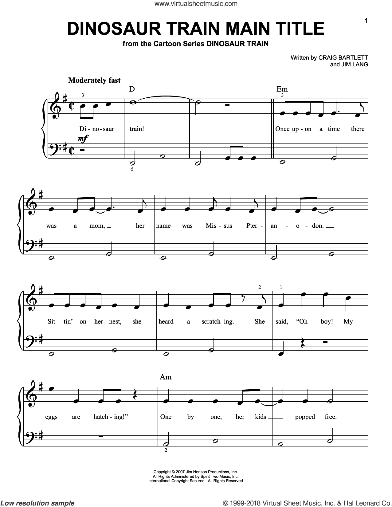 Dinosaur Train Main Title sheet music for piano solo by Craig Bartlett and Jim Lang, easy skill level