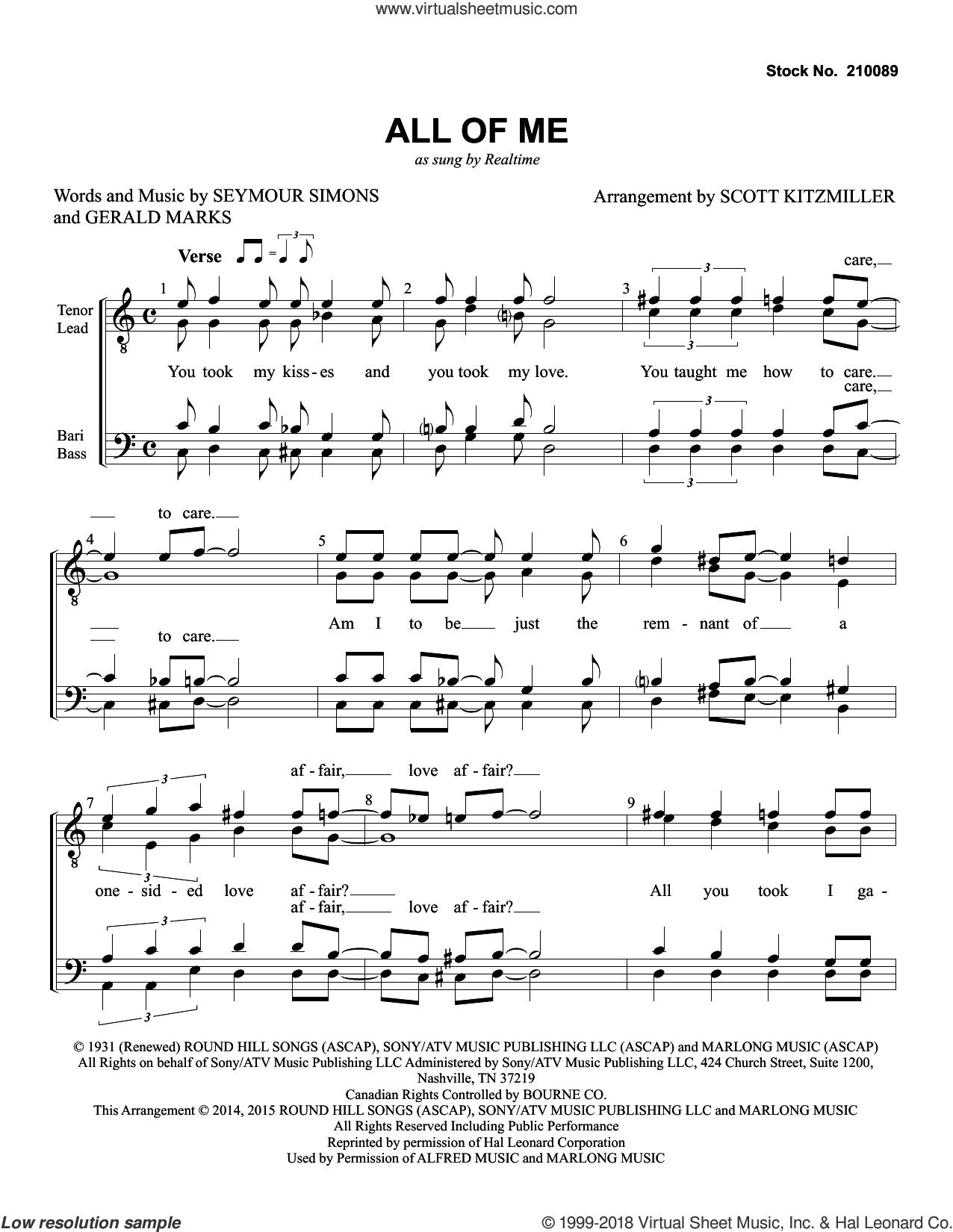 All Of Me (arr. Scott Kitzmiller) sheet music for choir (TTBB: tenor, bass) by Realtime, Scott Kitzmiller, Gerald Marks and Seymour Simons, wedding score, intermediate skill level