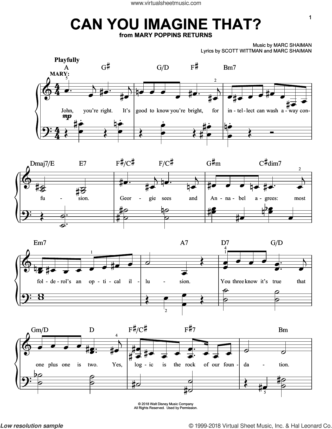 Can You Imagine That? (from Mary Poppins Returns) sheet music for piano solo by Emily Blunt & Company, Marc Shaiman and Scott Wittman, easy skill level