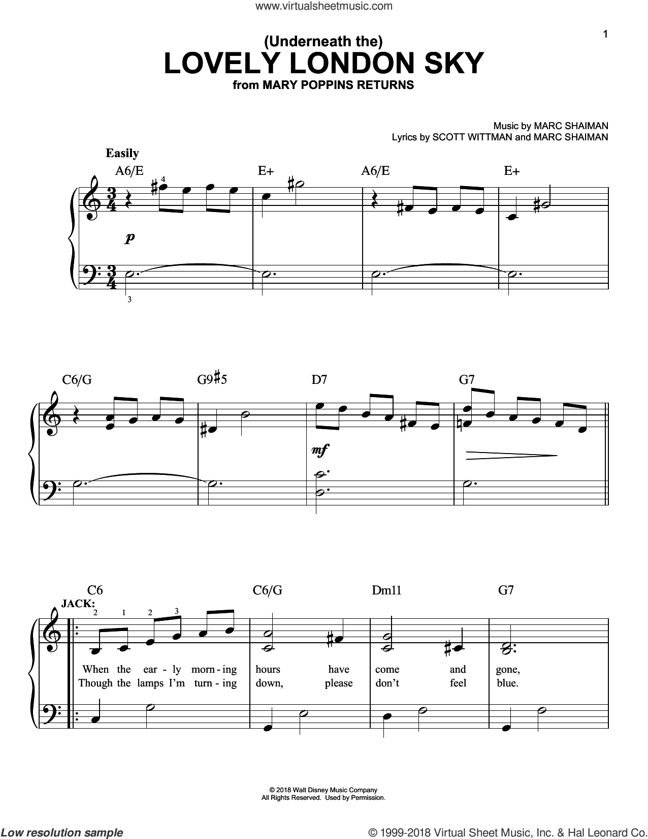 (Underneath The) Lovely London Sky (from Mary Poppins Returns) sheet music for piano solo by Lin-Manuel Miranda, Marc Shaiman and Scott Wittman, easy skill level