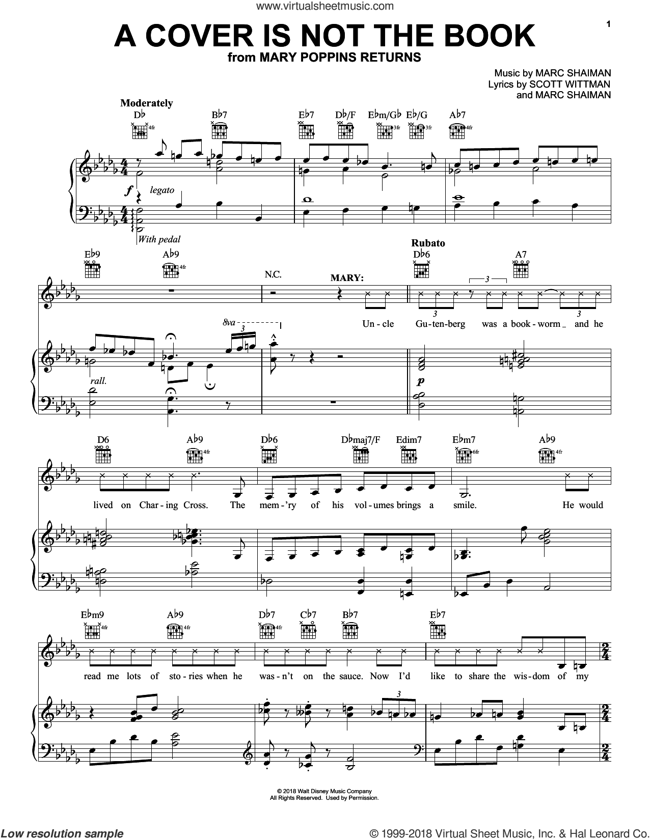 A Cover Is Not The Book (from Mary Poppins Returns) sheet music for voice, piano or guitar by Emily Blunt, Lin-Manuel Miranda & Company, Marc Shaiman and Scott Wittman, intermediate skill level