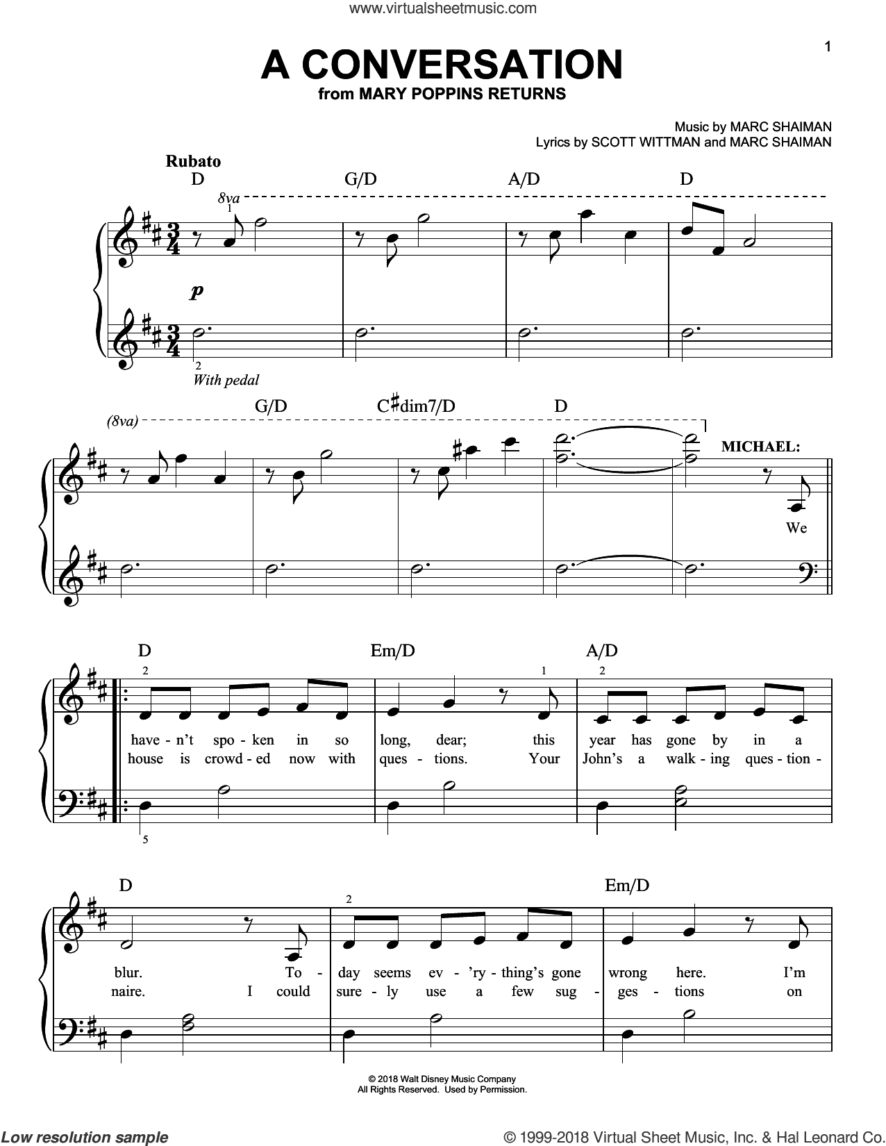 A Conversation (from Mary Poppins Returns) sheet music for piano solo by Ben Whishaw, Marc Shaiman and Scott Wittman, easy skill level