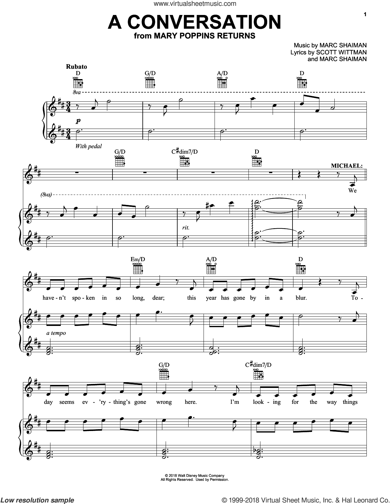 A Conversation (from Mary Poppins Returns) sheet music for voice, piano or guitar by Ben Whishaw, Marc Shaiman and Scott Wittman, intermediate skill level