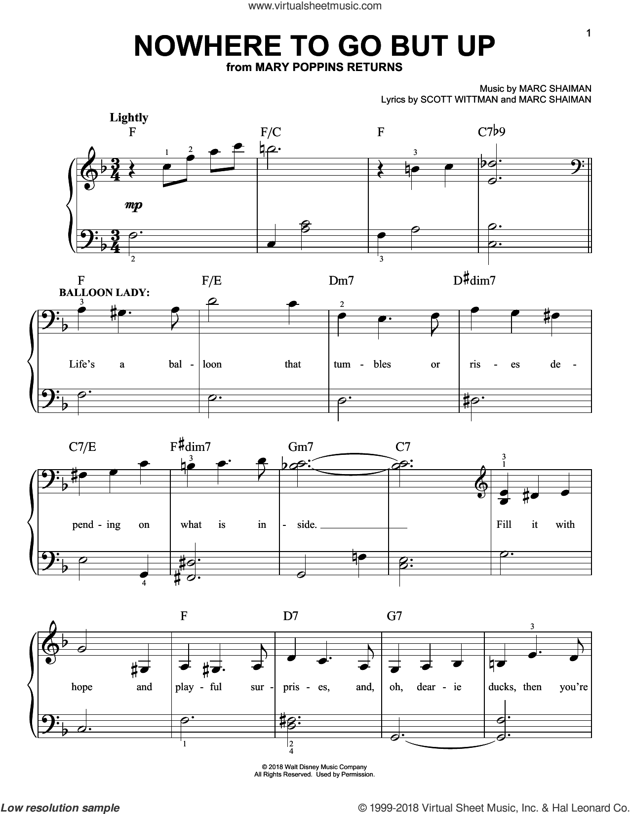 Nowhere To Go But Up (from Mary Poppins Returns) sheet music for piano solo by Angela Lansbury & Company, Marc Shaiman and Scott Wittman, easy skill level