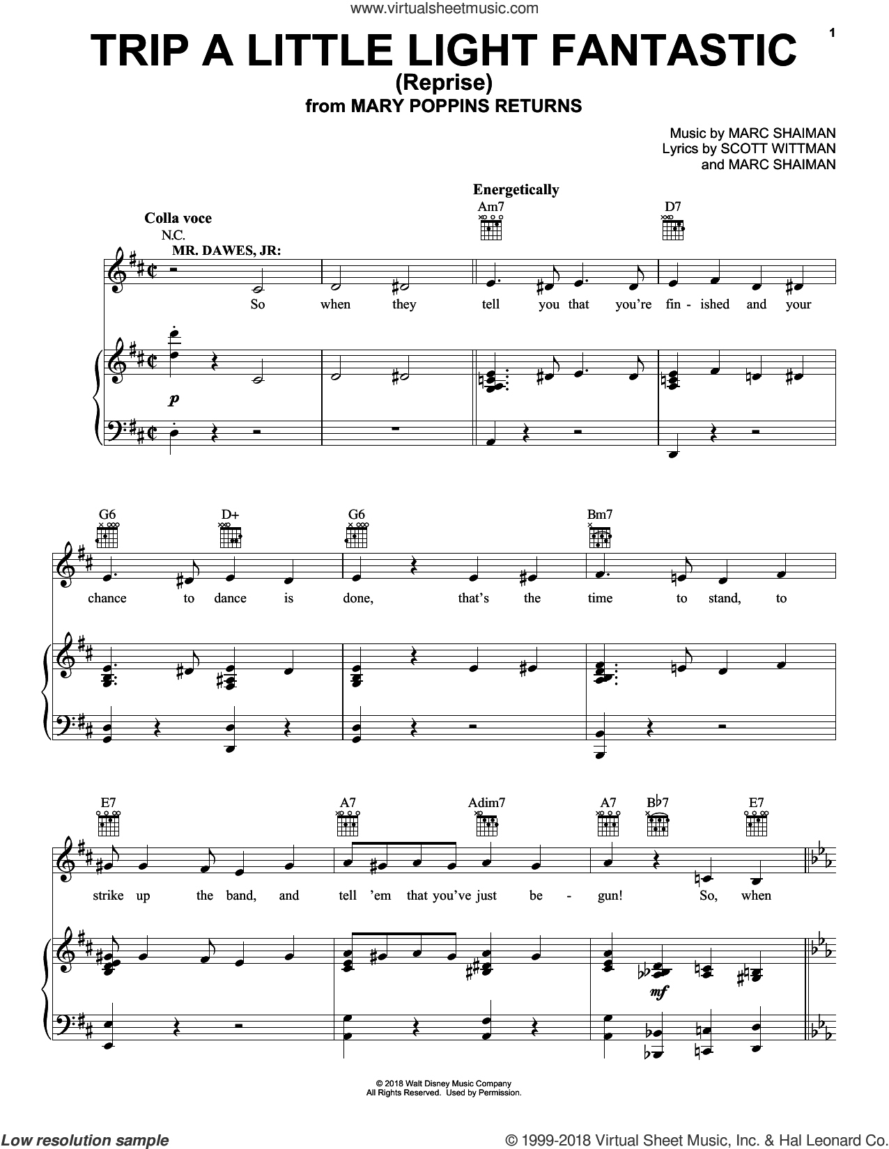 Trip A Little Light Fantastic (Reprise) (from Mary Poppins Returns) sheet music for voice, piano or guitar by Dick Van Dyke & Company, Marc Shaiman and Scott Wittman, intermediate skill level