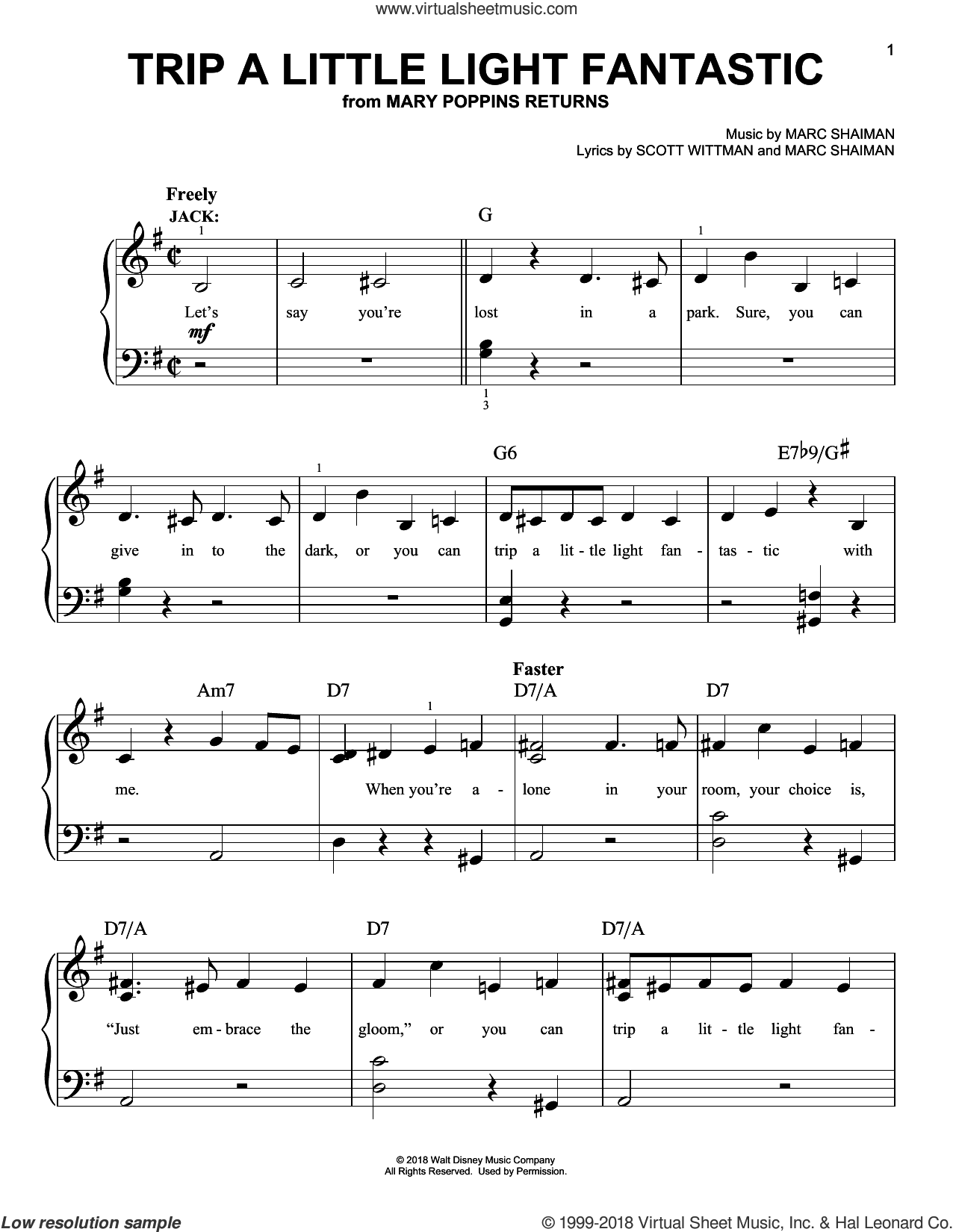 Trip A Little Light Fantastic (from Mary Poppins Returns) sheet music for piano solo by Lin-Manuel Miranda, Marc Shaiman and Scott Wittman, easy skill level