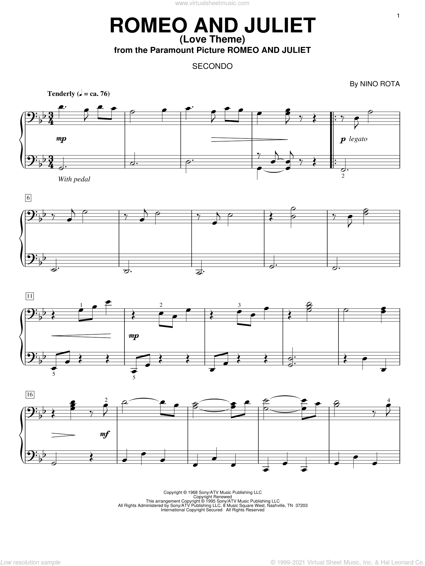 Download love theme from romeo and juliet sheet music by peter.