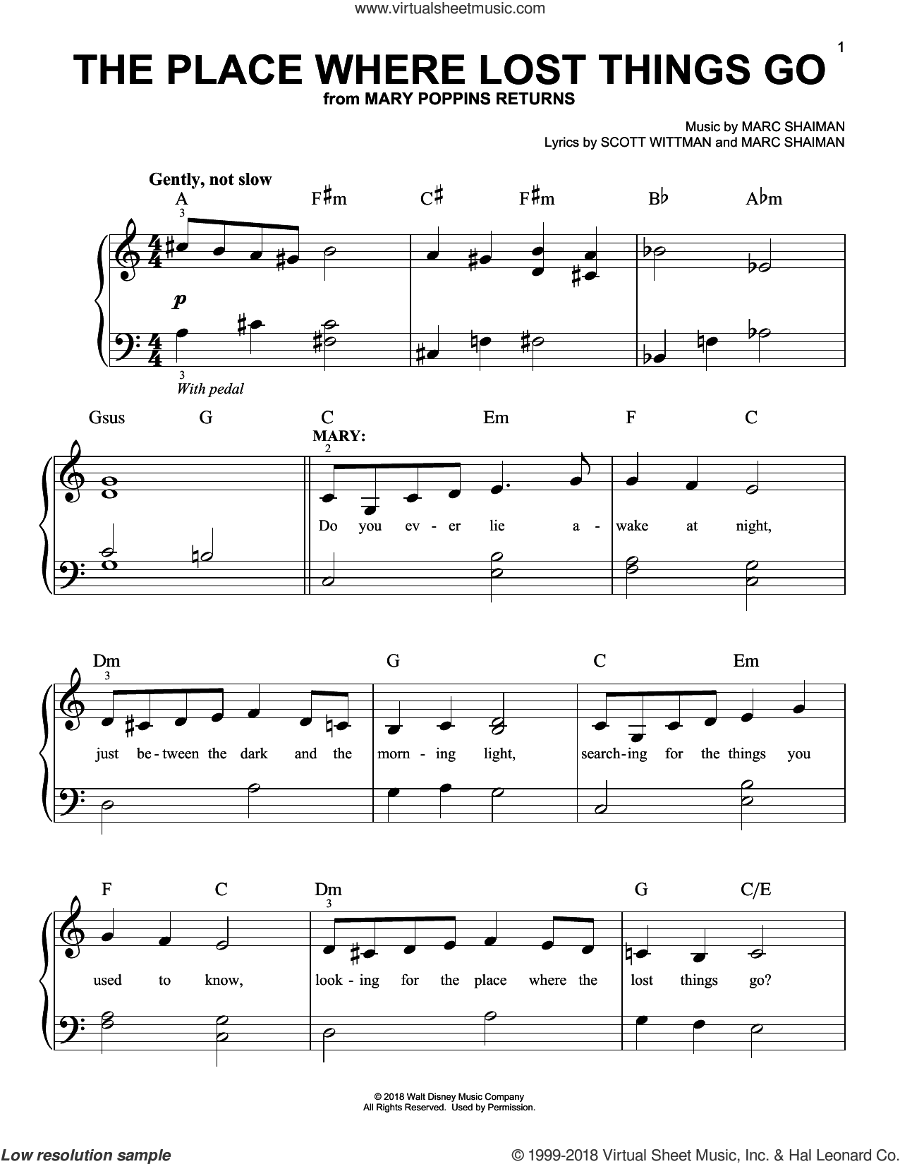 The Place Where Lost Things Go (from Mary Poppins Returns) sheet music for piano solo by Emily Blunt, Marc Shaiman and Scott Wittman, easy skill level