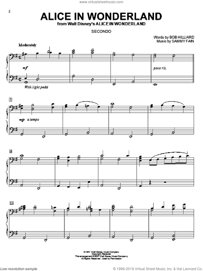 Alice In Wonderland sheet music for piano four hands by Bill Evans, Bob Hilliard and Sammy Fain, intermediate. Score Image Preview.