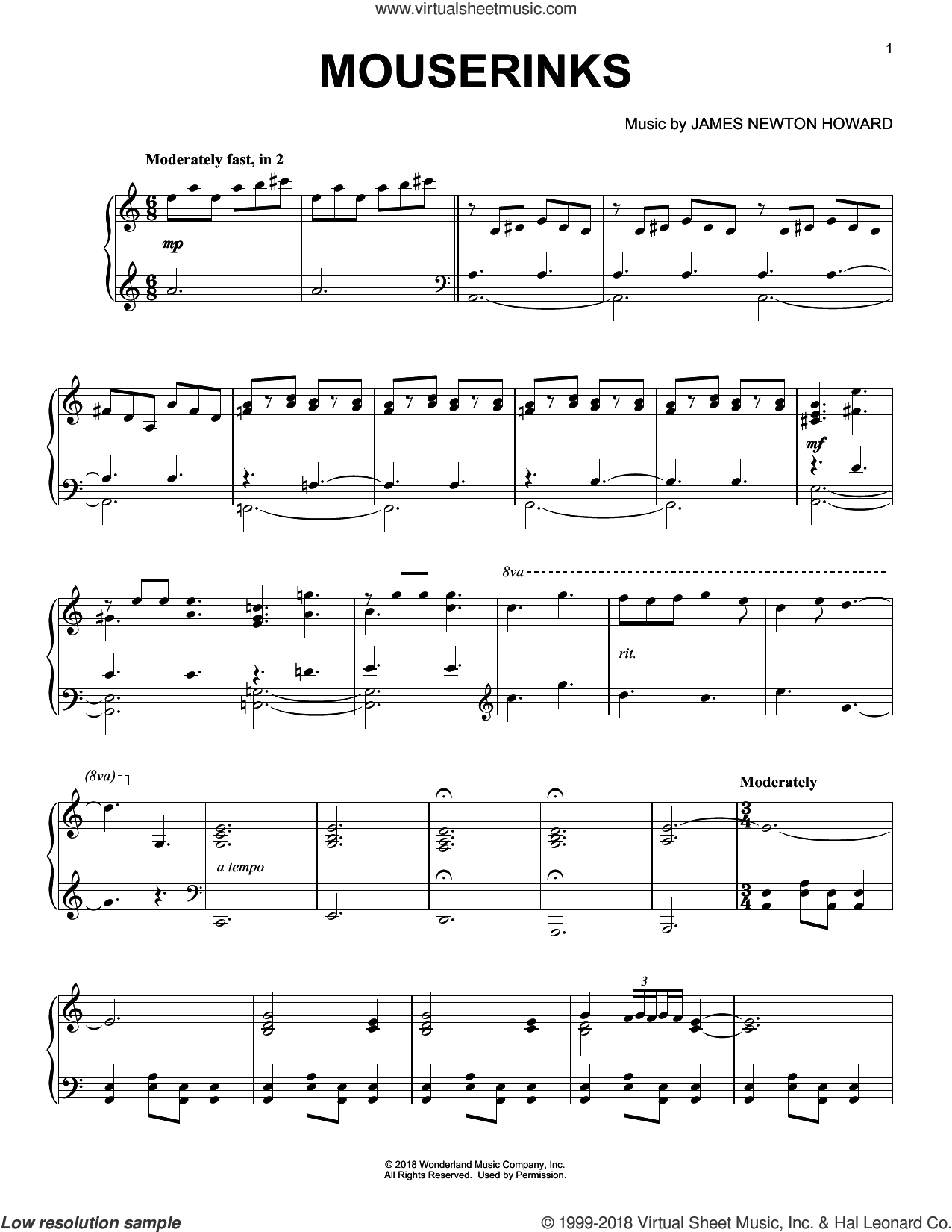 Mouserinks (from The Nutcracker and The Four Realms) sheet music for piano solo by Pyotr Ilyich Tchaikovsky and James Newton Howard, intermediate skill level