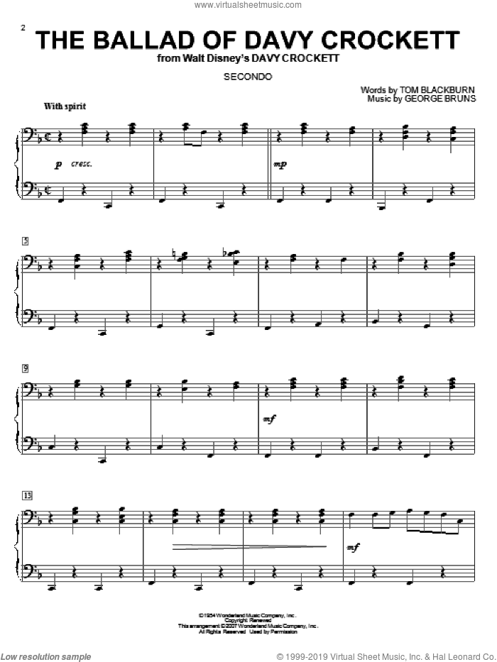 The Ballad Of Davy Crockett sheet music for piano four hands (duets) by Tom Blackburn, Bill Hayes, Tennessee Ernie Ford and George Bruns. Score Image Preview.