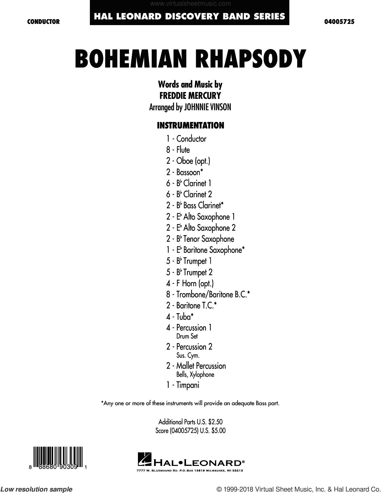 Bohemian Rhapsody (arr. Johnnie Vinson) (COMPLETE) sheet music for concert band by Queen, Freddie Mercury and Johnnie Vinson, intermediate skill level