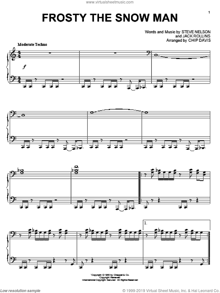 Frosty The Snow Man sheet music for piano solo by Mannheim Steamroller, Chip Davis, Jack Rollins and Steve Nelson, intermediate skill level