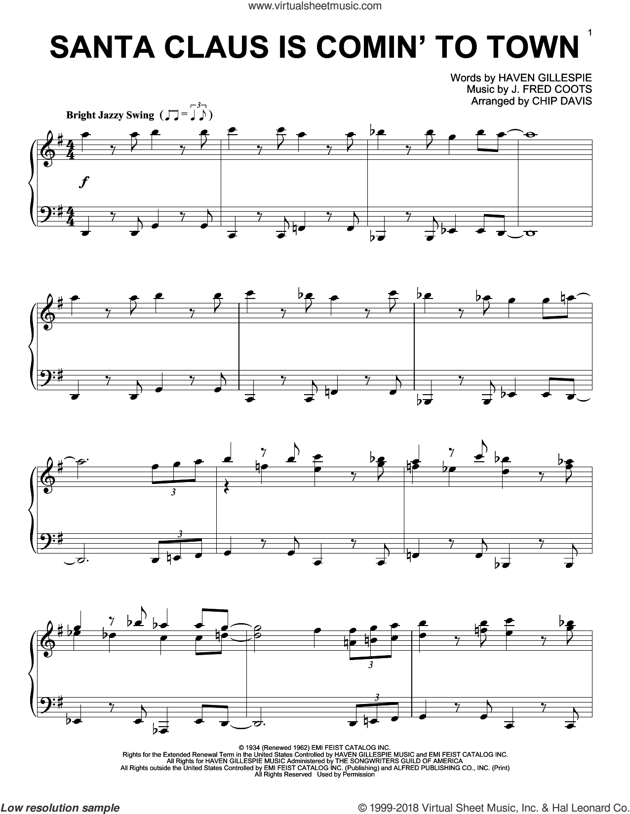 Santa Claus Is Comin' To Town sheet music for piano solo by Mannheim Steamroller, Haven Gillespie and J. Fred Coots, intermediate skill level