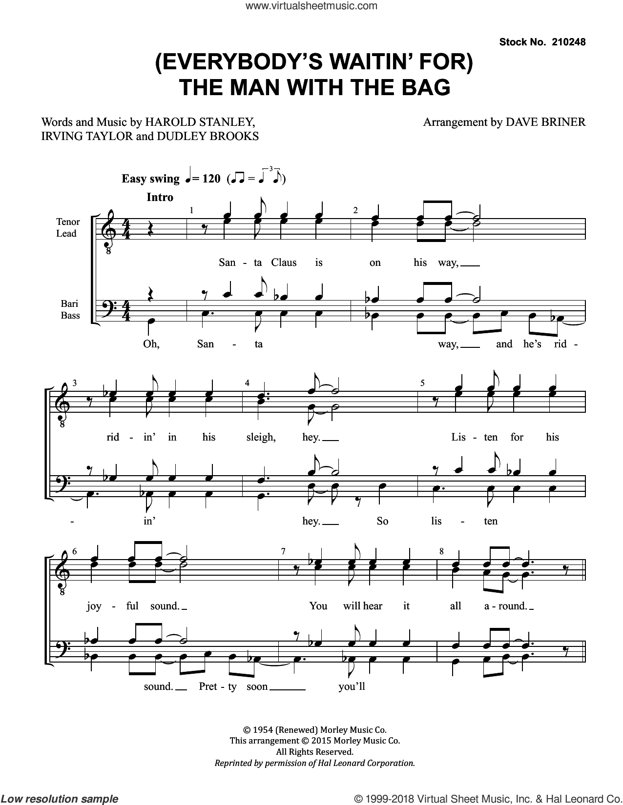 (Everybody's Waitin' for) The Man with the Bag (arr. Dave Briner) sheet music for choir (TTBB: tenor, bass) by Kay Starr, Dave Briner, Dudley Brooks, Harold Stanley and Irving Taylor, intermediate skill level